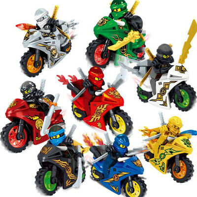 8Pcs Ninjago Motorcycle Set Minifigures Ninja Mini Figures Fits Lego Blocks Toys • 8.66£