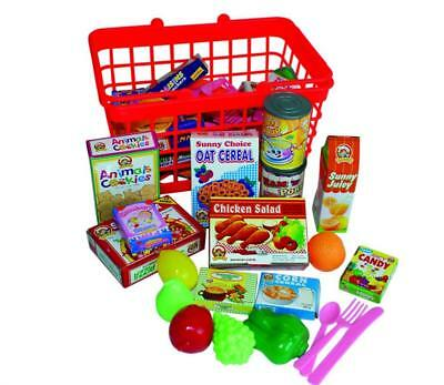 40pcs Kids Shopping Basket Children Play Kitchen Pretend Food Groceries Role Toy • 10.79£