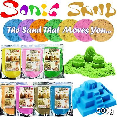 Sonic Sand 500g Bags Mould & Play Magic Motion Crazy Never Dry Dough Kinetic Kid • 4.49£