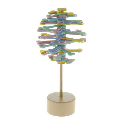 Colorful Wooden Rotating Lollipop Sensory Relaxation Toy Home Desk Decor • 7.05£