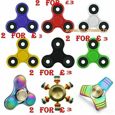 2 X Fidget Hand Spinner Fumble Finger Toy For Stress Relief Anxiety ADHD Autism • 3£