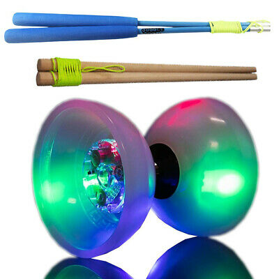 Light Up PRO Diabolo With Metal / Wooden Sticks PRO Circus Skills LED Diablo • 18.99£