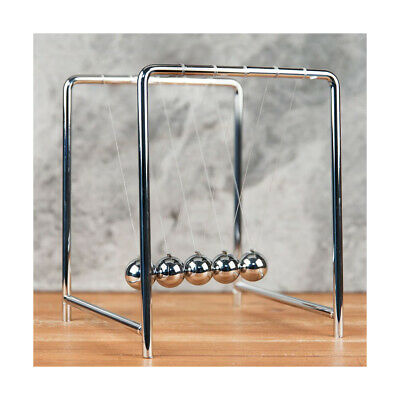 Chrome Finish Metal Newtons Cradle Office Desk Gadget Physics Balance Ball Gift • 17.99£