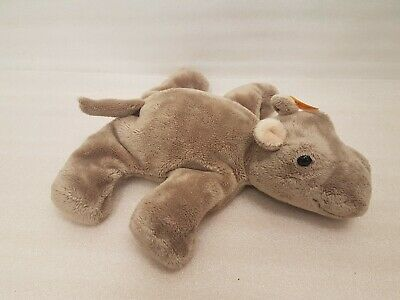 STEIFF HIPPO With Button Tag And Label. Beanie Type. RARE AND COLLECTIBLE • 49.99£