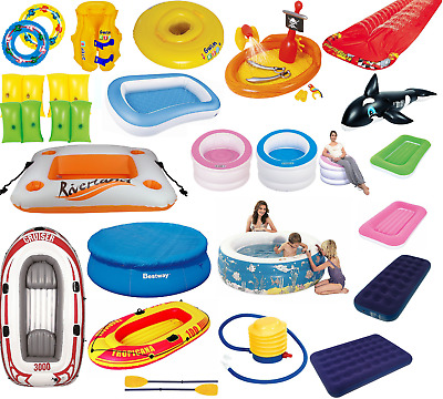 Kids Adult Family Inflatable Swimming Pool Boat Swim Ring Armband Vest Slide New • 34.99£