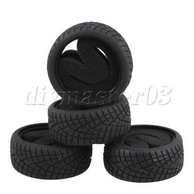 RC1:10 On-road Racing Car Tyre Rubber Tires Set Of 4 Black • 13.87£