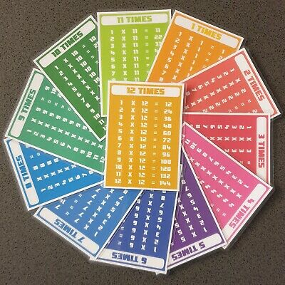 A7 Laminated Times Tables Flash Cards Maths Multiplication Educational Resource • 3.99£