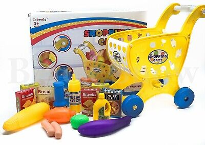 Children, Kids Shopping Trolley Cart Role Playing Toy Set Plastic Fruit • 9.99£
