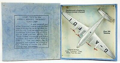 DINKY TOYS -IMPERIAL AIRWAYS LINER 'FROBISHER' No. 62w- VINTAGE AIRPLANE -BOXED- • 99.99£