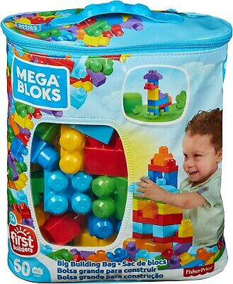 Mattel Mega Bloks First Builders Big Building Blue Bag - Toy Blocks - 60 Pieces • 11.99£