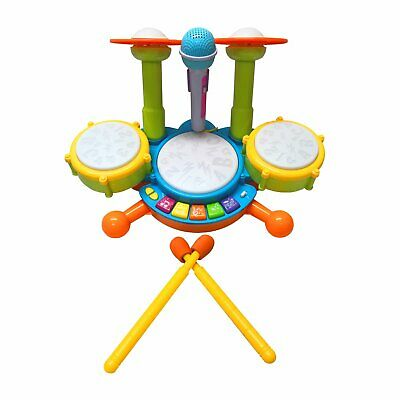 NEW! Kids Toy Musical Drum Kit Machine And Microphone Set With Lights And Sound • 15.99£