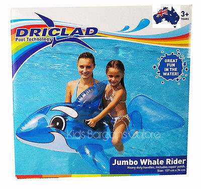 Kids DRICLAD Inflatable JUMBO Blue Whale Ride On Swimming Pool Toy-Fun Aus Qlty • 23.42£