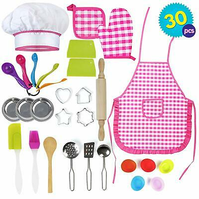 30 Pack Girls Chef Set Apron Cooking Baking Kitchen Toy Set Fancy Dress Play  • 14.99£