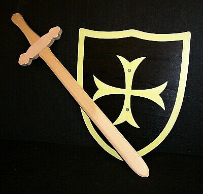 Black Knight Sword And Shield Set,  Wooden Toy, LARP • 8.99£