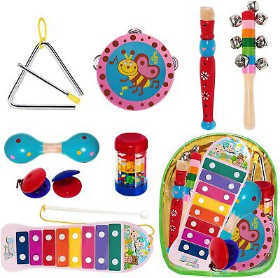 Wooden Kids Musical Instruments Baby Toddlers Music Percussion Set Rattles Toys • 21.99£