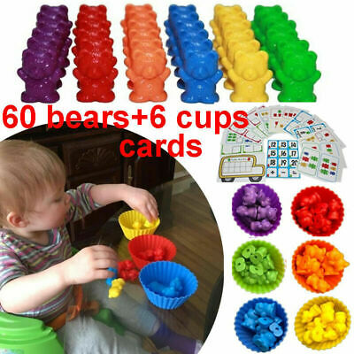 Counting Bears Cups Montessori Matching Game Educational Color Sorting Toys Set • 11.99£