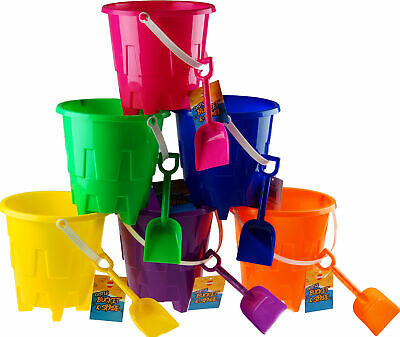 Set Of 6 Bright Colour Sand Castle Bucket And Spade Beach Toys • 14.99£