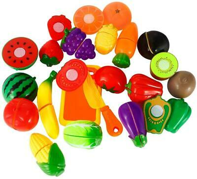 44Pcs Fruit Vegetable Food Play Cutting. Board Pretend Chef Kitchen Set • 9.99£