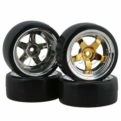 4 X RC 5 Spokes Wheel Rims & Tyres Drive Hex 12mm For RC 1:10 On Road Racing Car • 14.75£