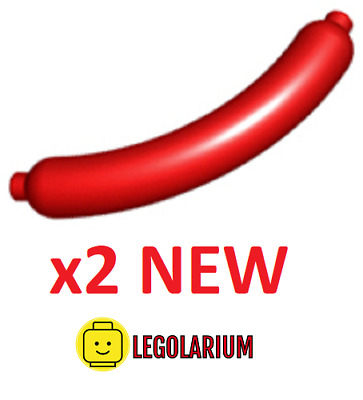 LEGO Parts NEW - Pack Of 2 Hot Dog / Sausage 33078 RED • 1.75£