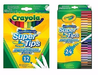 Crayola  Super Tips Washable Markers Pack Of 12 , 24  - FAST & FREE DELIVERY. • 4.40£