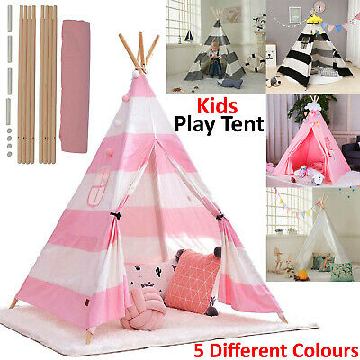 Cotton Canvas Kids Teepee Tent Childrens Wigwam Indoor Outdoor Play House Large • 19.99£