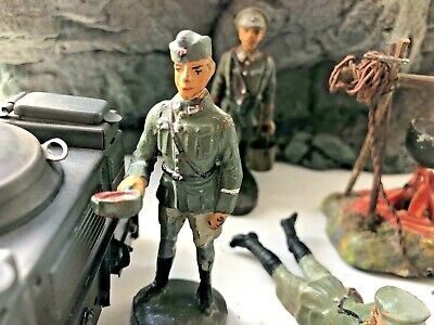 Vintage Elastolin  Soldiers 1/24  70 Mm Ideal Camp Life Series 6 Items • 115£