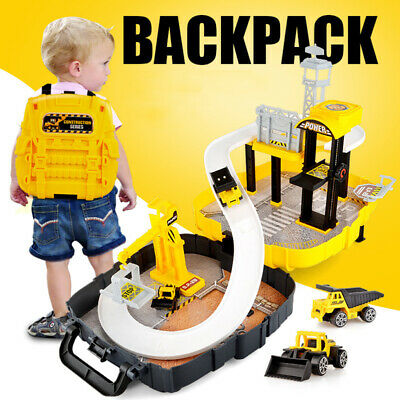 Construction Site Toy Play Set Backpack +2Trucks Building Crane Digger Lift Gift • 14.99£