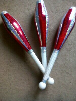 Set Of 3 One Piece Juggling Clubs - Hand Decorated • 30£