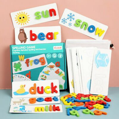 Early Education English Spelling Toy Wooden Cardboard Alphabet Game Educational • 9.11£