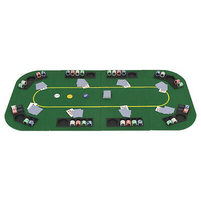 Rectangular 8 Player Folding Poker Tabletop Green Upholstery Cup Chip Holders  • 63.99£