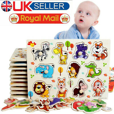 Wooden Animal Letter Puzzle Jigsaw Early Learning Baby Kids Educational Toys UK • 4.26£
