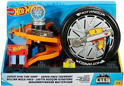 Hot Wheels City FNB17 Super Spin Tire Shop Playset • 24.99£