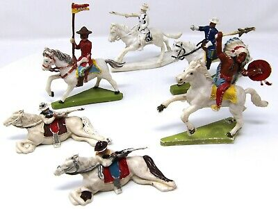 Vintage Cherilea, Speedwell ACW, Cowboys, Indians And A Mountie Cavalry X 6. • 19.99£