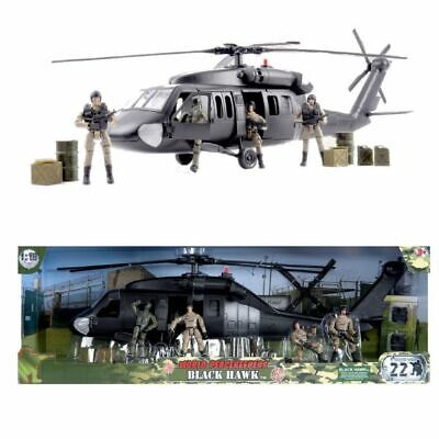 World Peacekeepers Black Hawk Army Military Helicopter Toy & 4 Figures • 44.99£