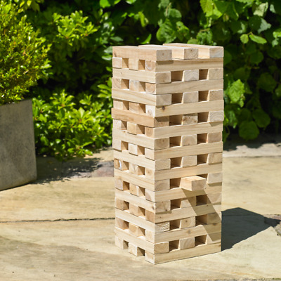 Giant Tower Wooden Blocks Outdoor Family Garden Game Kids Fun Large • 23.99£