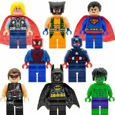 8Pcs Avengers Super Hero Batman Hulk  Mini Figure Fit Lego Toys  Building Blocks • 3.39£