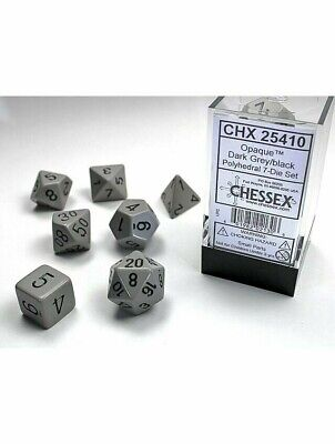Poly 7 Set Of Dice Opaque Dark Grey / Black Chessex Polyhedral • 3.99£