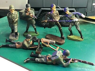 Elastolin  + Others = 6 Mixed  Soldiers  1/24  / 70 Mm - Original  Playworn • 40£