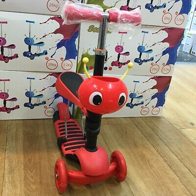 Seat Scooter 3-in-1 Kids Kick Scooter 3-wheel Walker Ride-removable Seat • 22£