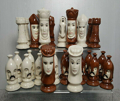 Vintage Duncan Hand Painted Chess Pieces - Full Set (Medieval Style) • 69.99£