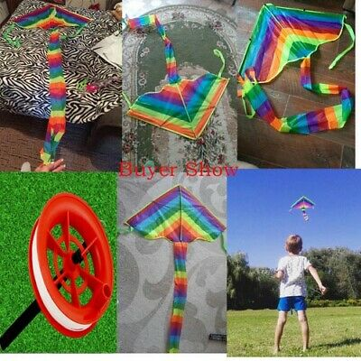 Children Adult Rainbow Kite Easy To Fly Single Line Park Fun Kid Toy Colourful • 6.55£