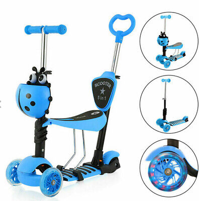 Kids Toddler Child Kick Push Scooter 5 In 1 W/ Flashing Wheel T-Bar Tilt Seat Uk • 25£