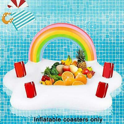 Inflatable Rainbow Cloud Cup Holder Swimming Ring Pool Float Beer Drinking Tray • 7.99£