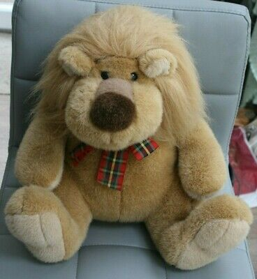 Large, Cuddly Lion, Sporting A Tartan Bow • 3.99£