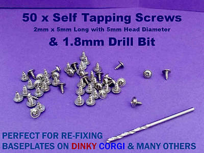50 X Screws & Drill Bit For Re-Fixing Baseplate DINKY CORGI & MANY OTHERS • 5.19£