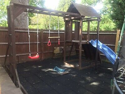 Dunster House Wooden Climbing Frame With Pole/Climbing Wall/Monkey Bars/Swings • 300£