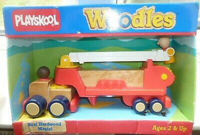 Playskool Woodles Vintage 1987 Fire Engine Real Hardwood Maple Collectible - New • 24£