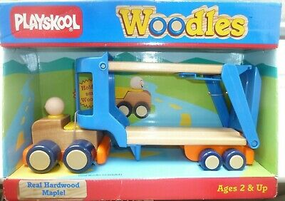 Playskool Woodles Vintage 1987 Car Carrier Real Hardwood Maple Collectible - New • 24£