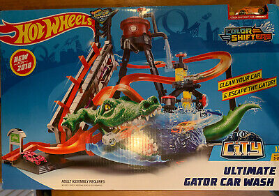 Hot Wheels Ultimate Gator Car Wash Playset Colour Shifters City Alligator Kids • 4.20£